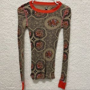Free People Tan Floral Ribbed Long Sleeve